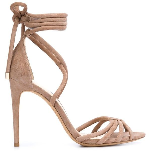 Alexandre Birman 'New Cindy' sandals ($960) via Polyvore featuring shoes, sandals, brown, leather shoes, brown leather sandals, brown sandals, alexandre birman sandals and alexandre birman