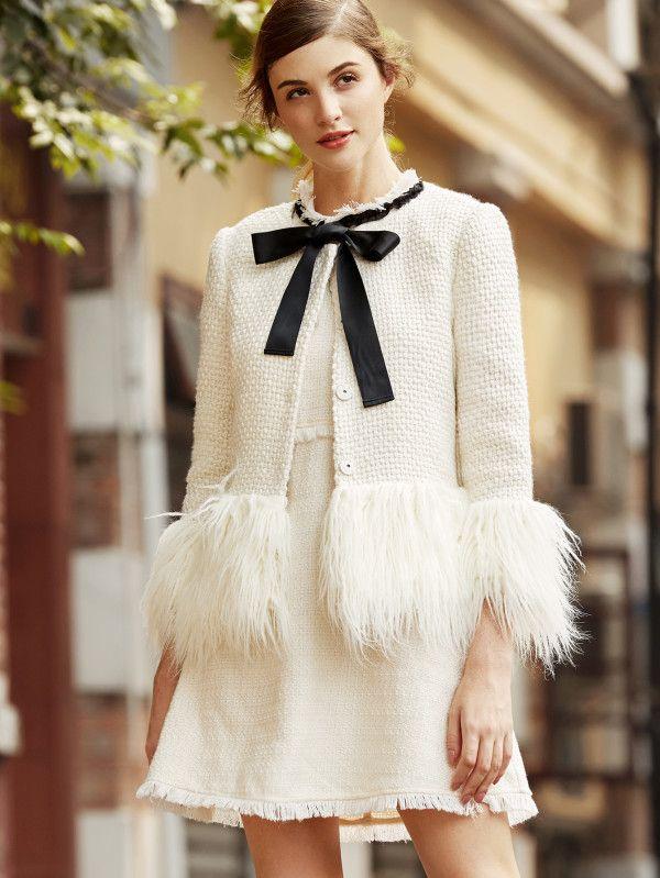 White Faux Fur Trim Tweed Blazer -SheIn(Sheinside)