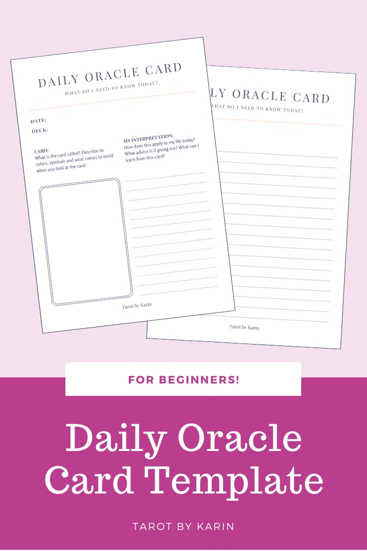 Daily oracle card journal pdf printable for instant