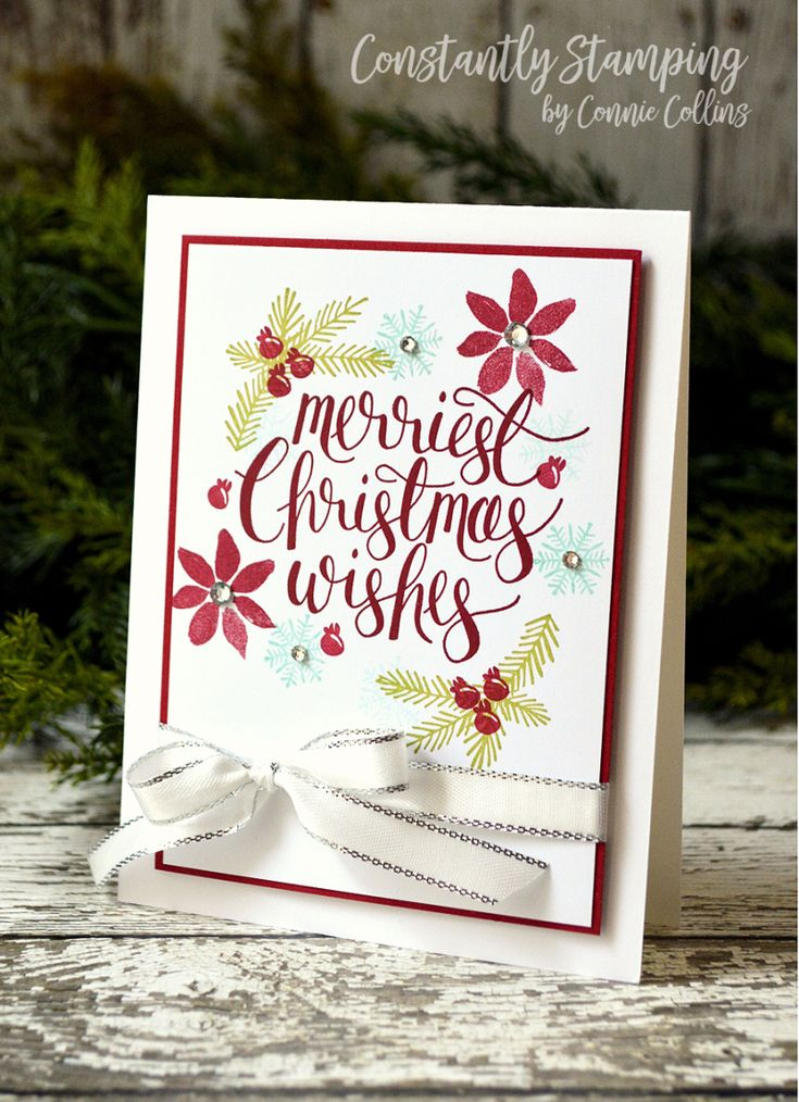 Card designed by Connie Collins at ConstantlyStamping.com using Watercolor Christmas, Peace This Christmas, and Blooms & Wishes stamp sets by Stampin' Up!