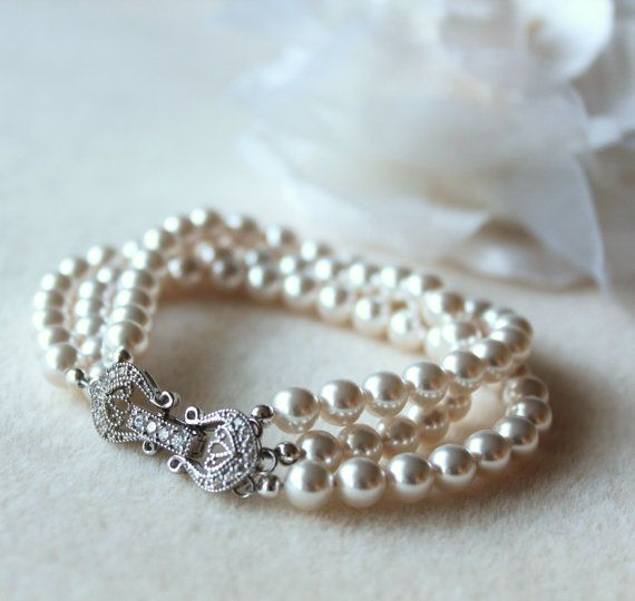 Wedding Pearl Jewelry Bridal  Bracelet  by DreamIslandJewellery