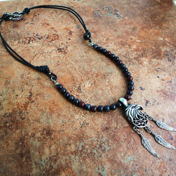 Mens Necklace Mustang Jasper & Black Leather by mamisgemstudio, $42.95