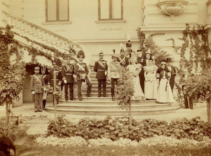 Regele Carol I al României, împăratul Austriei Franz Joseph I, principele Ferdinand al României, regina Elisabeta a României, la Palatul Cotroceni, în 1896