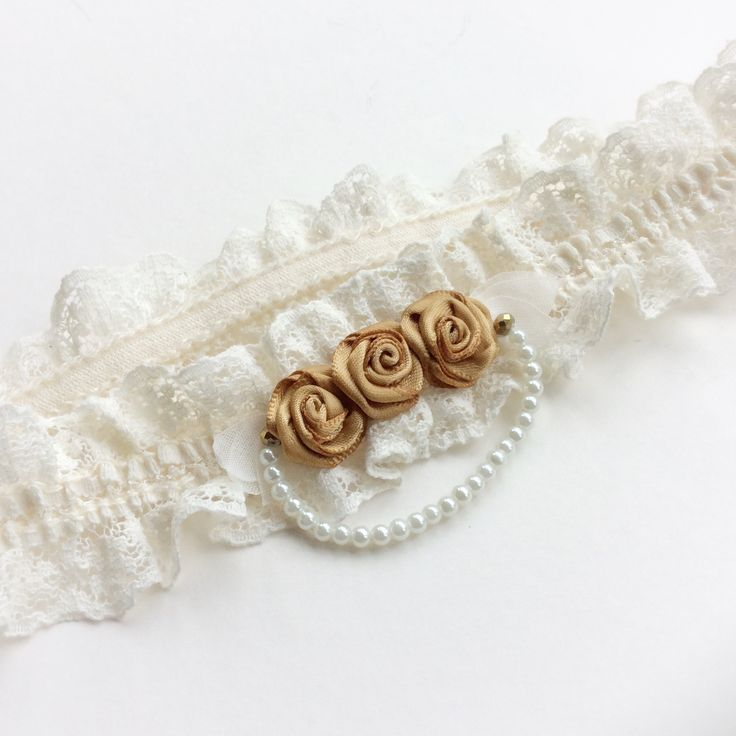 Wedding garter in gold, to match the bride's colour theme. Bridal garter, vintage style keepsake garter or toss garter, perfect as a bridal shower gift, or bride gift.