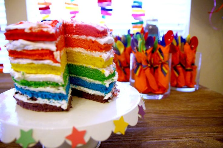 Layered Rainbow Cake - #cake #partyidea #kidspartyBirthday Parties, Rainbows Birthday, Rainbow Cakes, Rainbows Cake, First Birthday, Rainbow Birthday, Rainbows Parties, Parties Ideas, Awesome Cake