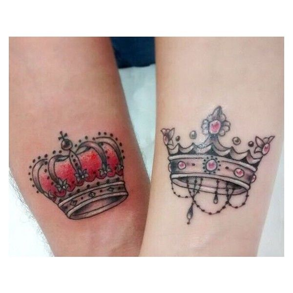 Beautiful King And Queen Tattoos On Hands For Couple ❤ liked on Polyvore featuring accessories, body art and tattoos