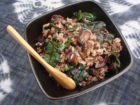 Wild Rice and Garlicky Swiss Chard with Balsamic-Roasted Portobello Mushrooms and Eggplant via Dispatches from the Gypsy Roller