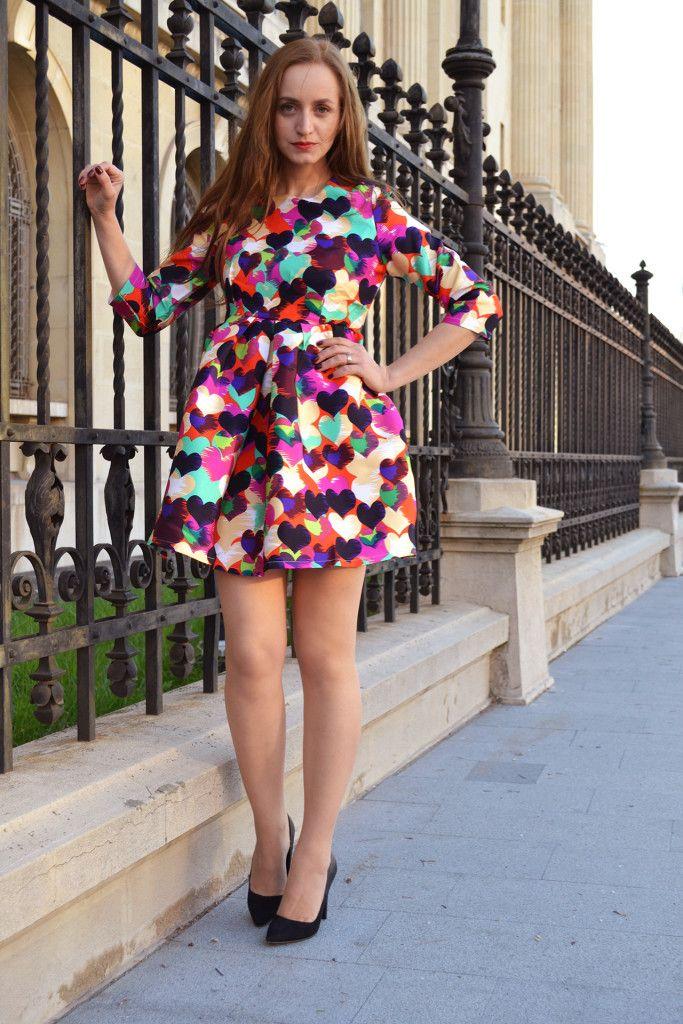 heart dress print street style fashion