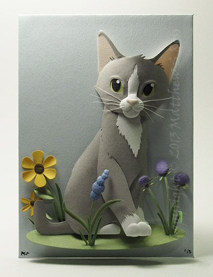 OMG it's Disney-fied Izzy!  Grey and White Kitten CAT Paper Sculpture Spring Flowers 5x7 by Matthew Ross