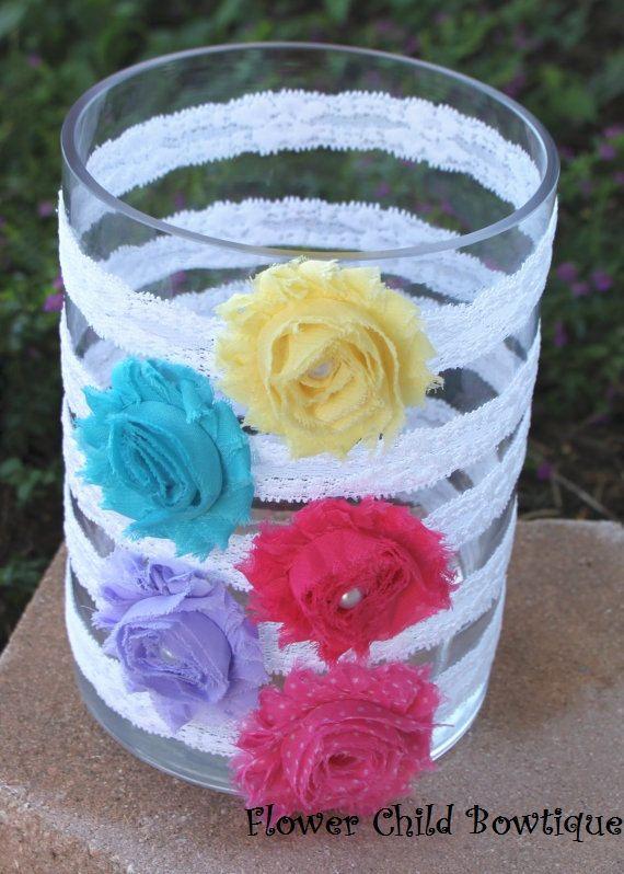 DIY Shabby Flower Headband Kit - Baby Shower Headband Station - Birthday Party Favor. $35.99, via Etsy.
