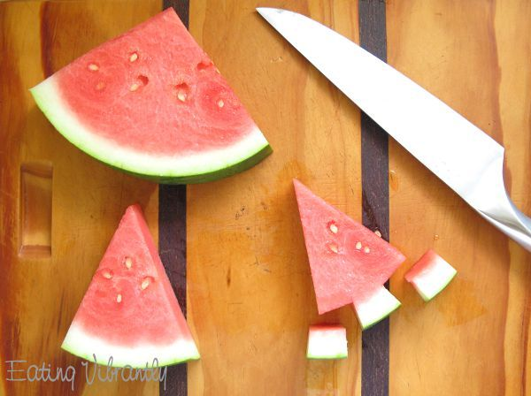 Watermelon Christmas trees - take advantage of our wonderful produce and make these cute Christmas trees for you Australian Christmas Barbeque.