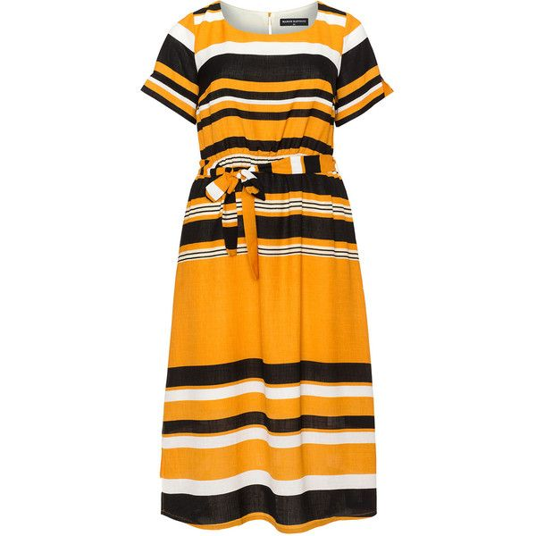 Manon Baptiste Orange / Multicolour Plus Size Printed tie waist midi... ($175) ❤ liked on Polyvore featuring dresses, orange, plus size, ruffle sleeve dress, striped midi dress, orange midi dress, women's plus size dresses and plus size midi dresses