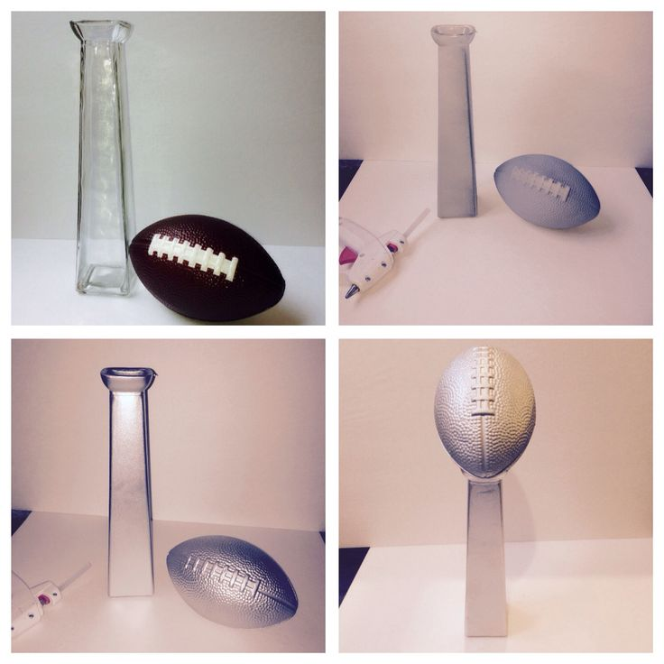 DIY Lombardi Trophy. Made this out of $.99 glass vase, $.99 foam football, spray primer and silver spray paint.