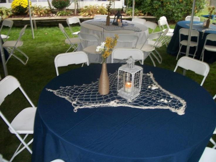 Diy nautical party center pieces lantern decor party for Anchor decoration party