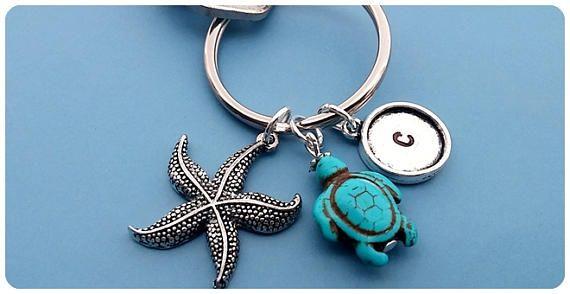 Personalized Turtle keychain Starfish keychain Initial