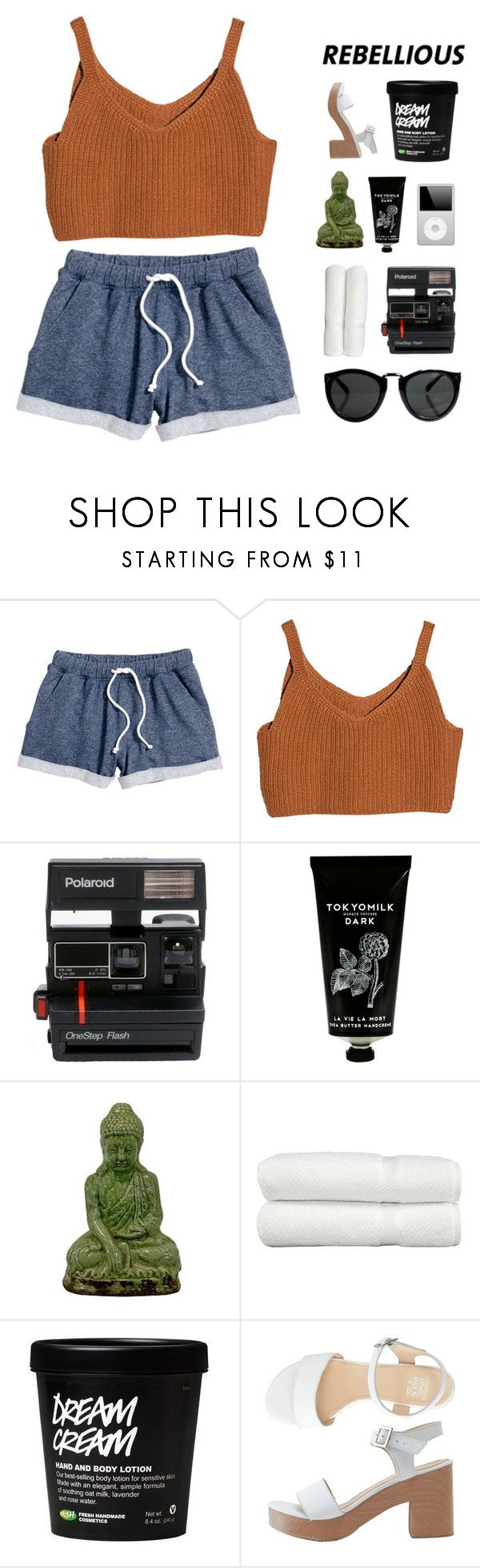 """""""question tag! ❁"""" by douxmaiden ❤ liked on Polyvore featuring H&M, Polaroid, TokyoMilk, Urban Trends Collection, Linum Home Textiles, American Apparel, bathroom and country"""