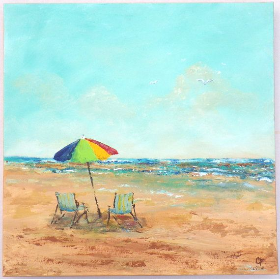 Captivating Abstract Beach Painting With Beach Chairs And Umbrella, Large Beach  Painting, Square 20x20 Inch