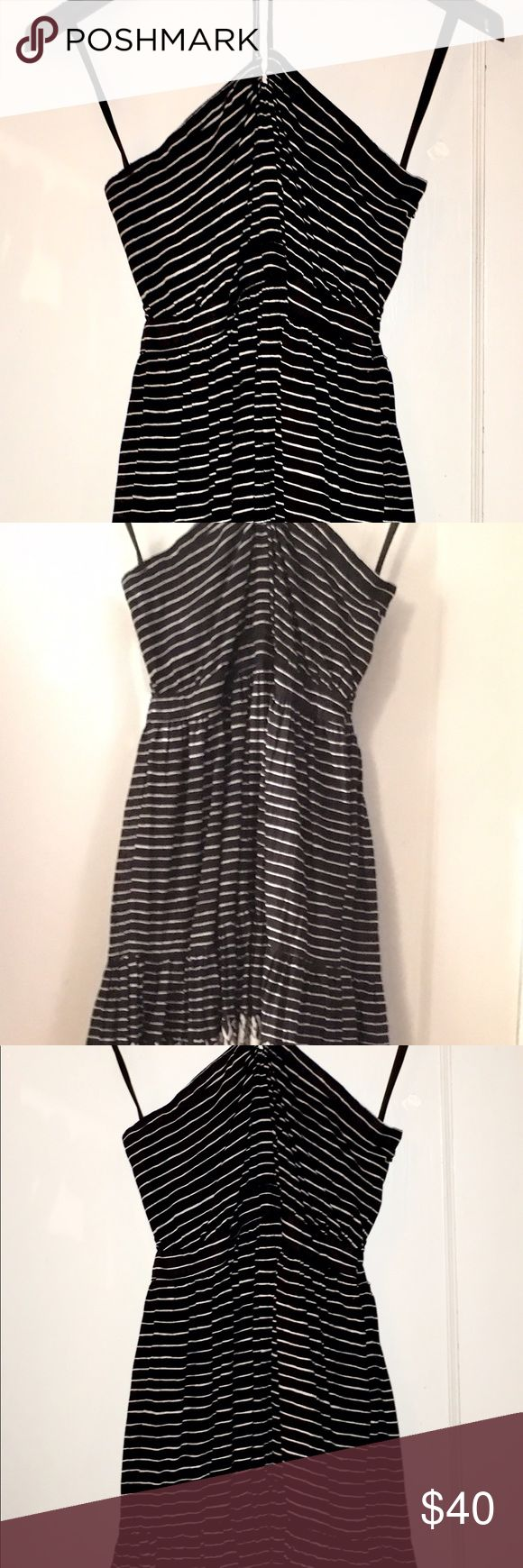 Vintage dress Vintage black and white print and striped summer halter dress. So pretty! Super adjustable, fits S/M perfectly. Brand new, never worn. Brandy Melville Dresses Backless