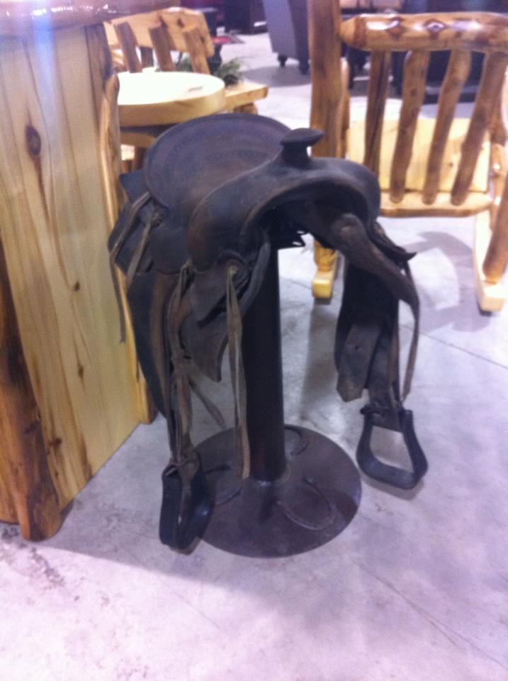 Wrought Iron Swivel Saddle Barstool from World Imports-Rustic Furniture