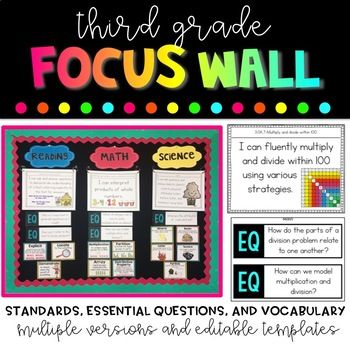 A focus wall has become a staple of my classroom setup and standards based bulletin board, and I'm excited to offer this bundle of all my focus wall materials. As a teacher, I want to have lots of different options for my focus wall, so I was sure to include multiple options of each portion of the focus wall.
