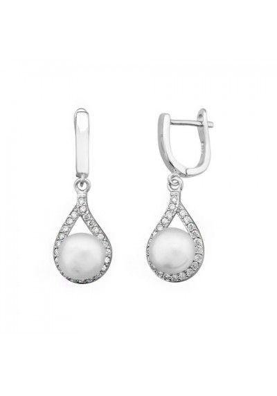 Pendientes para Novia / Pendientes de Boda / Joyería Nupcial: Pendientes novia lagrima perla circonitas plata de ley #boda #joyas #nupcial #pendientes #plata #perla