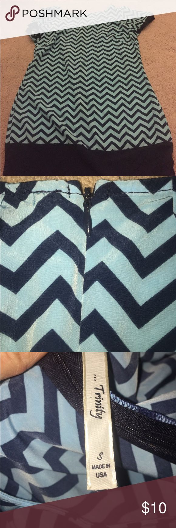 Cute Blue Chevron Dress Super cute for a girls large or a petite woman. Worn once. If it would not fit as a dress, it would be super cute with navy leggings!!// size: women's small -OR- child's extra large!! Great condition! Trinity Dresses