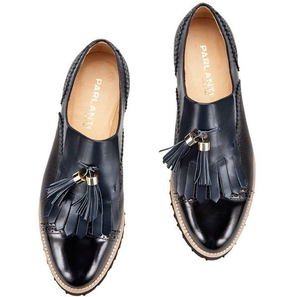 ... ❤ liked on Polyvore featuring shoes, oxfords, black fringe shoes, balmoral oxfords, leather brogues, blue oxford shoes and black oxford shoes