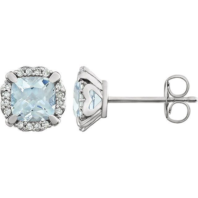 14kt White Gold Aquamarine & 1/10 CTW Diamond Earrings