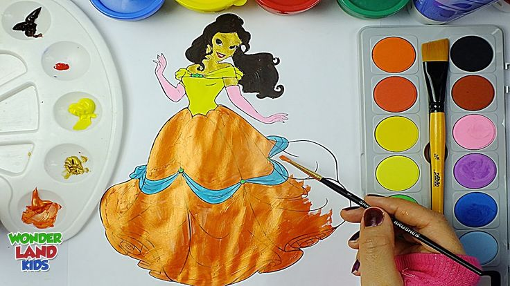 Princess Belle Watercolor / Learning Colors with watercolor for Preschoo...