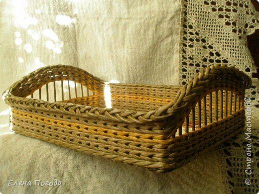 Поделка изделие Картонаж Плетение Немного плетения и первый опыт картонажа Картон Ткань Трубочки бумажные фото 3