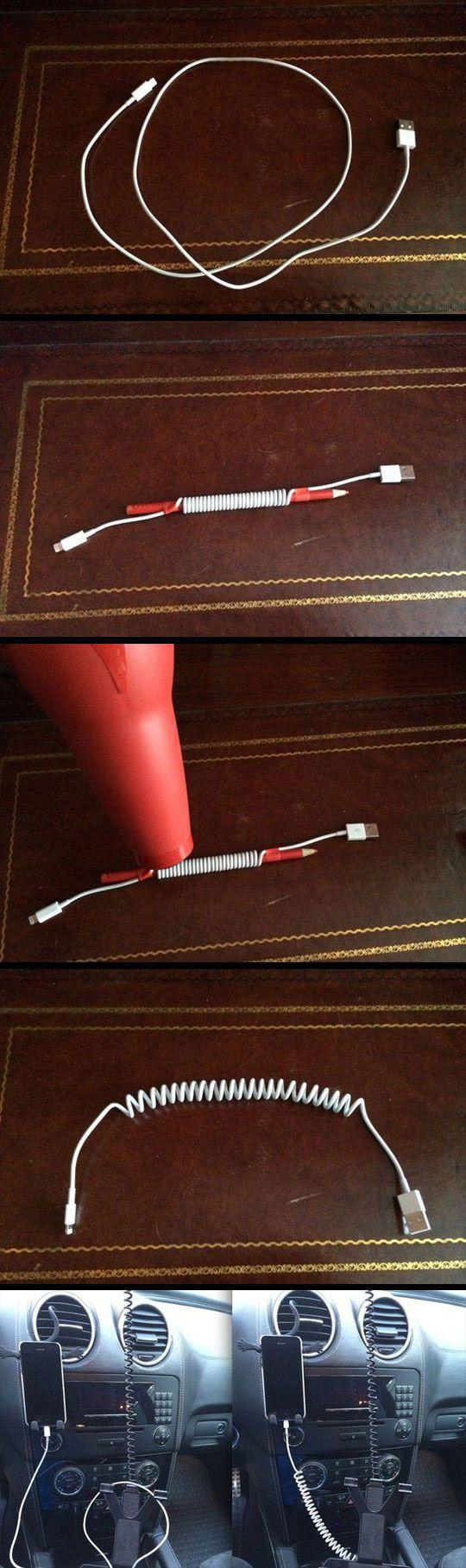 Rendre un cable iphone plus pratique (pour la voiture)