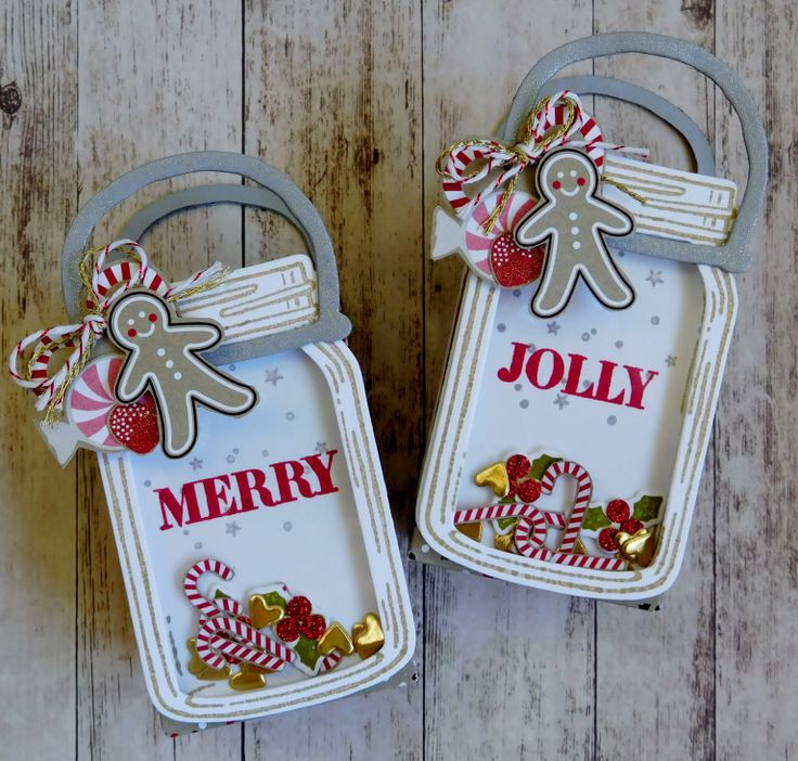 Treat Bag by Karen Robinson (091616) [Stampin' Up! (dies) Everyday Jars Framelits, Snow Friends Framelits; (punch) Cookie Cutter Builder; (stamps) Holly Jolly Greetings, Jar of Love, Snow Place]