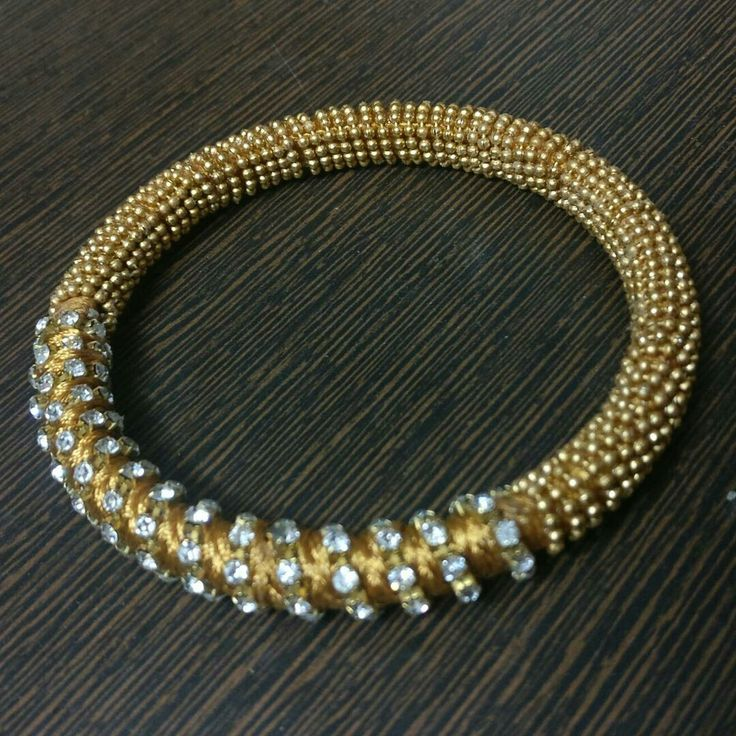 #bangles #kada #Designer #accessories #handmade #bracelet #classylook #slik #thread #golden