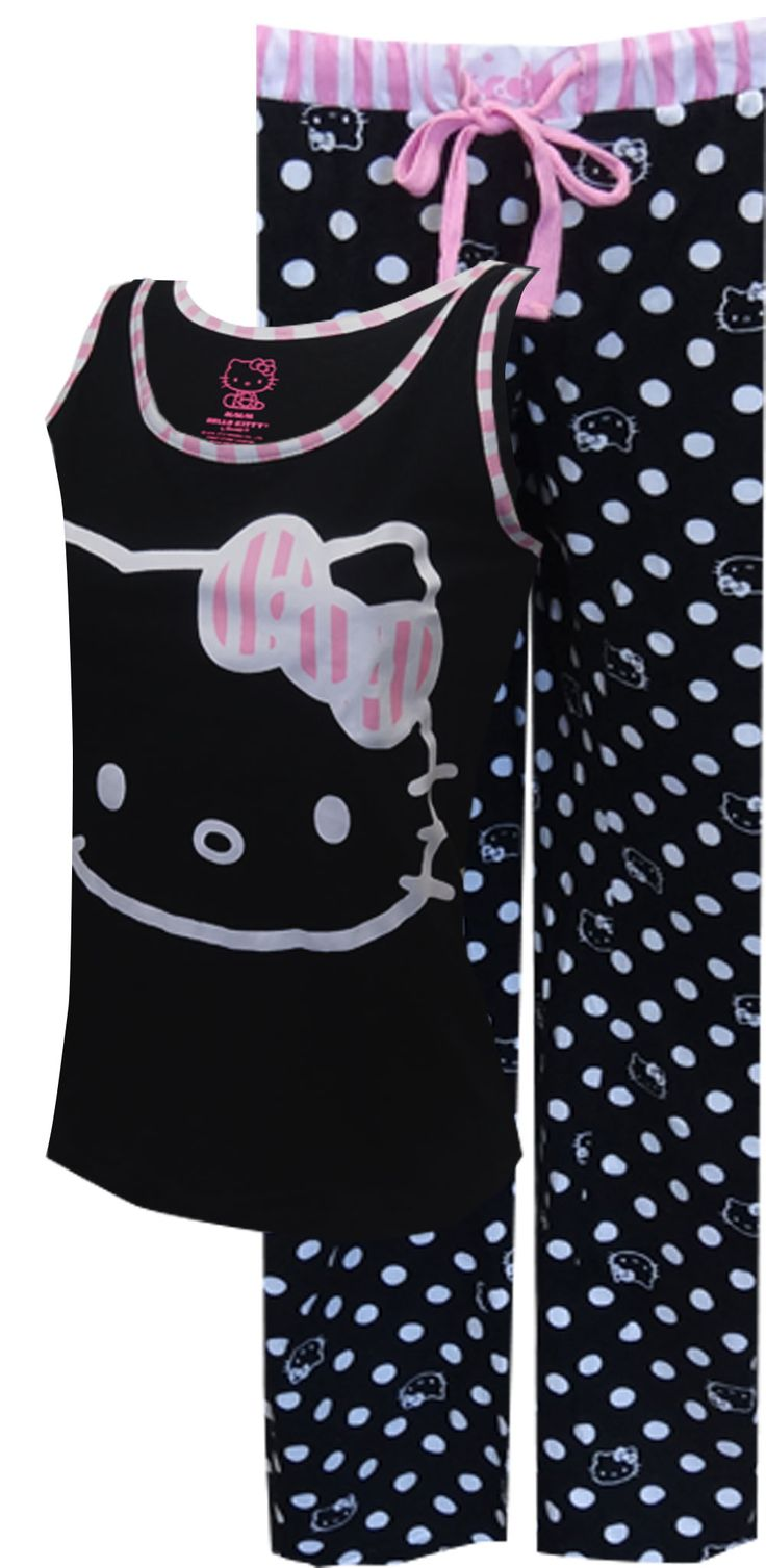 Black and white hello kitty shower curtain - Hello Kitty Black White And Pink All Over Pajama
