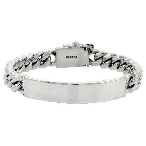 Sterling Silver Cuban Curb Link Men's ID Bracelet 1/2 inch wide, 8 inch long