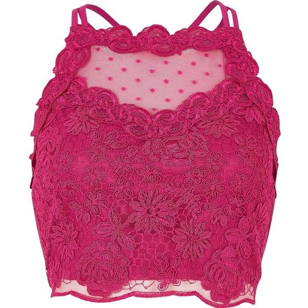 River Island Pink lace mesh crop top ($36) ❤ liked on Polyvore featuring tops, pink, pink sleeveless top, lace trim top, fitted crop top, surplice top and sleeveless tops