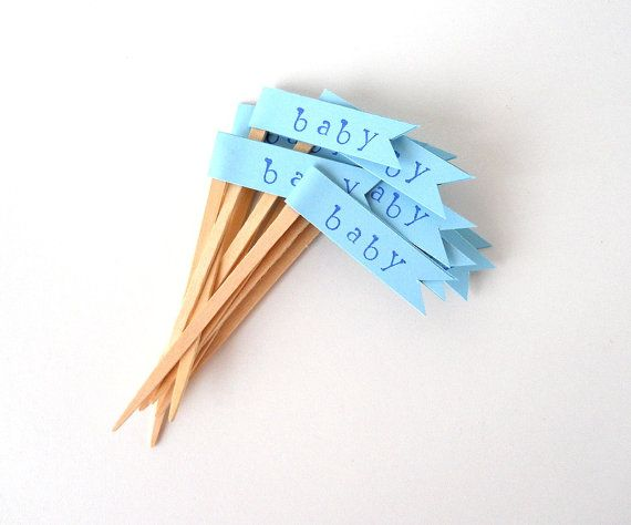 """Baby Shower Cupcake Toppers, 12 Blue """"baby"""" Flags"""