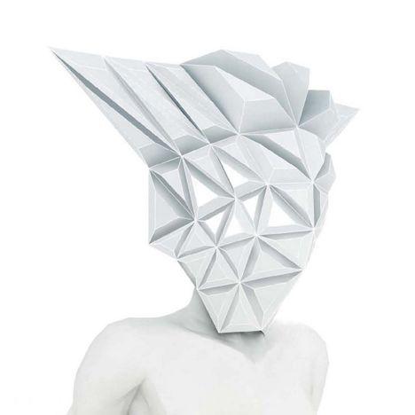Masko spiky origami masks for mannequins by 3Gatti Architecture Studio