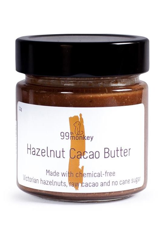 99th Monkey - Hazelnut Cacao Butter. Made with hazelnuts, organic raw cacao and organic coconut sugar, this is the guilt-free alternative to Nutella that you've been waiting for! #FarmhouseAU #99thMonkey #hazelnut #cacao #butter #organic #raw #coconutsugar