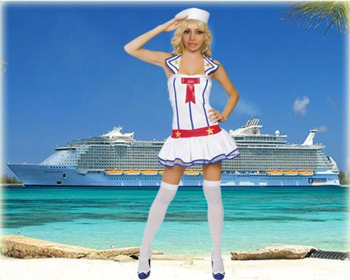 Fotomontaje como marinera manejando un crucero full caribe