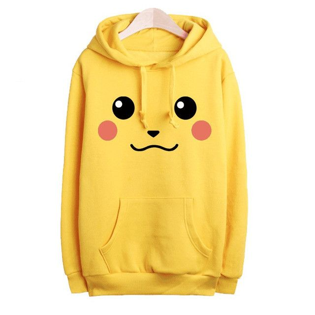 Pokemon Hoodie Women Sweatshirt Pikachu Hoodies Harajuku Tracksuit For Women,Moletom Feminino,Yellow Pullover Hoodie Tops C2398