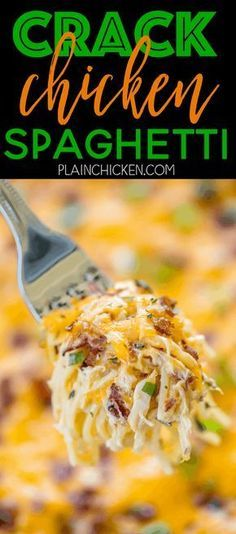 Crack Chicken Spaghetti - chicken spaghetti loaded with cheddar, bacon and ranch. This stuff is totally ADDICTIVE! We make this at least once a month. Everyone cleans their plate, even our picky eaters! Chicken, cream of chicken soup, velveeta, ranch dressing mix, bacon, cheddar cheese, spaghetti. Can make ahead of time and refrigerate or freeze for later. A real crowd pleaser!