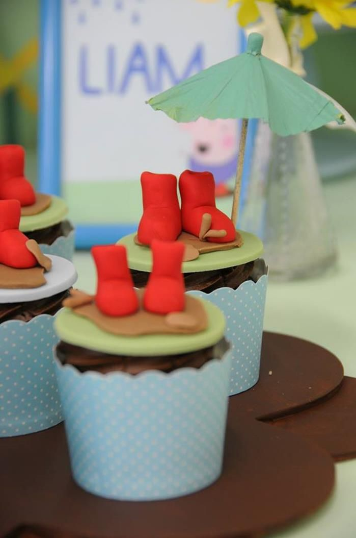Cupcakes at a Peppa Pig Party with Lots of Fun Ideas via Kara's Party Ideas | KarasPartyIdeas.com #PeppaPig #PartyIdeas #PartySupplies #cupcakes