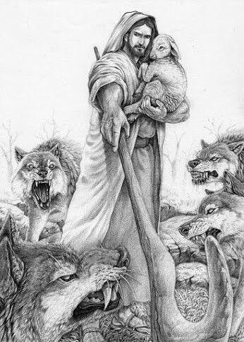 Jesus the good shepherd protecting the lamb. Prophetic art.