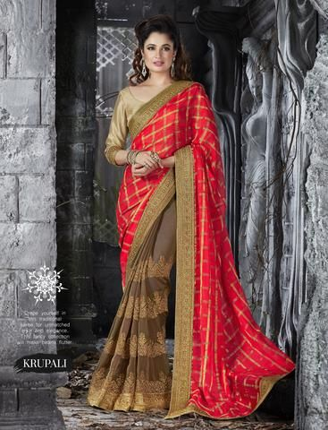 Orange With Brown Chiffon & Georgette Saris Fashion