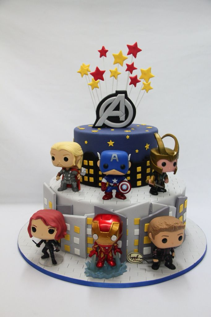 Avengers Superheroes Funko Pop Fondant Cake Marvel Lynh Kitchen Biet Doi Sieu Anh Hung
