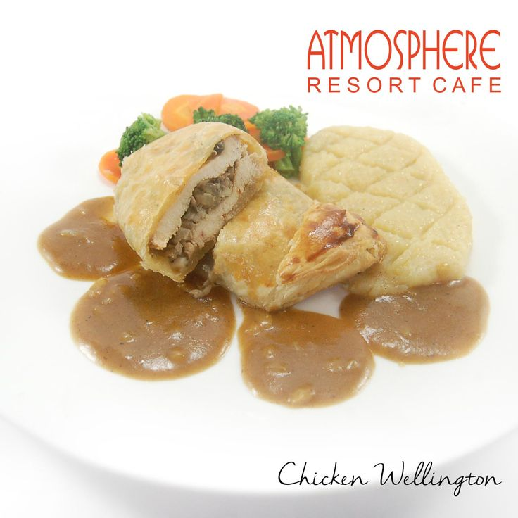 Baked chicken & mushroom in puff pastry w/ French sc & mashed potato