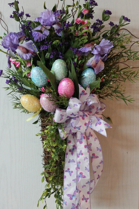 Lg Easter Basket Sparkly Colorful Easter Eggs by FloralsFromHome, $105.00