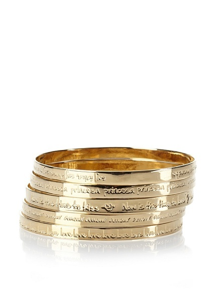 Mercedes Salazar Gold Bangle Set 5 lustrous bangles each engraved with inspirational phrases or unique words