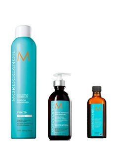 Pack Moroccanoil Luminous Hair Spray Medium + Treatment + Crema Para Peinar